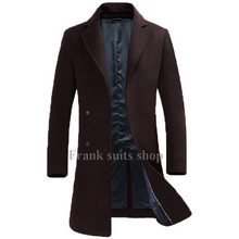 Custom made 2017 Europe Style Brown Men Wool Coats Winter Long Casual Windbreaker Slim fit Men Woolen Coats