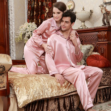 Fashion Couple Pajamas Summer Short Sleeve Pajama Pants Sets Pink Sexy Adult Emulation Silk Pyjama Lounge Set Plus Size B-5843(China)