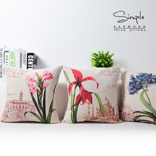 Vintage decorative throw pillows blue red flower living room couch pillows seat floor floral chair cushions outdoor seat pillow(China)