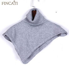 Women Autumn Winter Turtleneck Cashmere Blend Pullover Knitted Cape Ring Scarves Solid Color Warm All-Match Bufandas