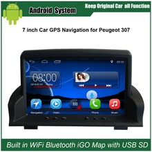 7 inch Android Capacitance Touch Screen Car Media Player for Peugeot 307 GPS Navigation Bluetooth