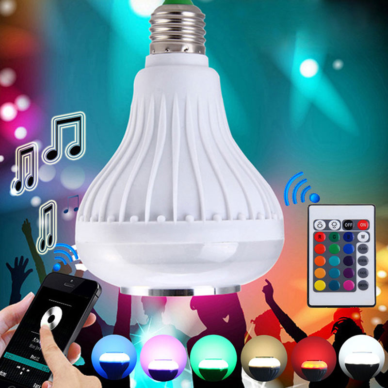Smart LED Wireless RGB Bluetooth Speaker E27 Music Playing Lamp With 24 Keys IR Remote Control Disco Novelty Led Lighting Lamp<br><br>Aliexpress