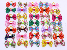 50pcs Colourful Pet Dog hair bows Butterfly style small Dog Bows Rubber Bands Dog hair accessories Grooming Products Cute Gift