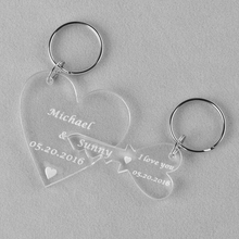 Wholesale A Set of Personalised Engraved Clear Wedding Anniversary Key to Heart Keyring Keychain Valentine's Day Gift Present(China)