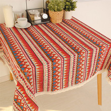 New Arrival Bohemian Style Striped tablecloths  table cloth Cotton Thin 3 Colors  70*70cm 90*90cm 140*140cm Can be customized