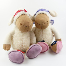 NICI plush toy stuffed doll Jolly Mah sheep head scarf bedtime story baby lover Christmas birthday gift 1pc free shipping
