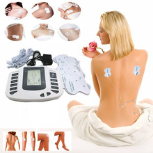 electric tens unit therapy massager pulse muscle relax stimulator body foot neck shoulder pain relief + 16pcs electrode pads(China)