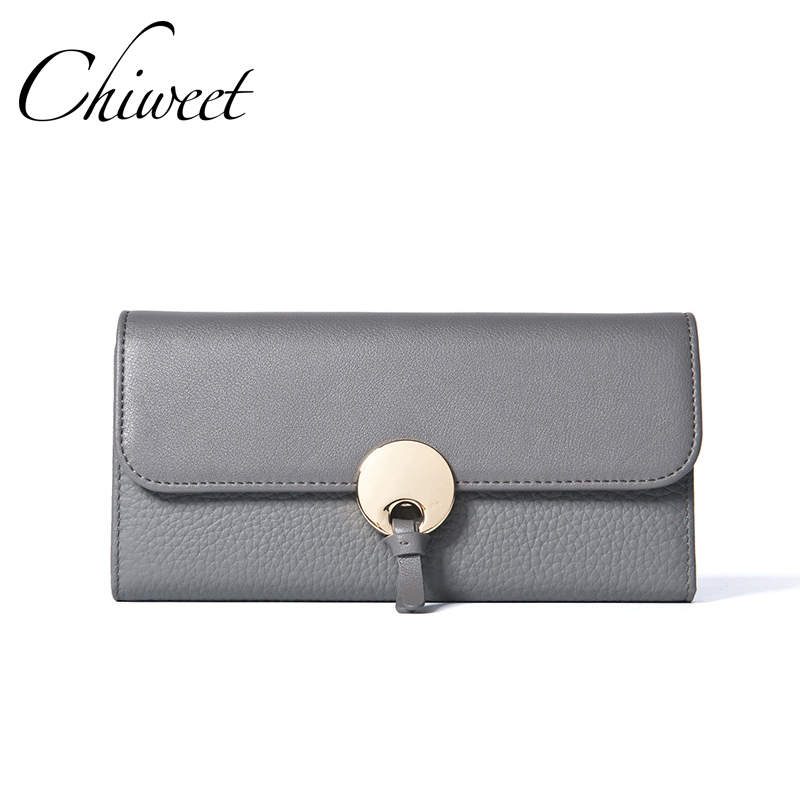 Luxury Brand Genuine Leather Wallets Purses For Women Long Wallet Female Round Buckle Clutch Ladies Designer Vintage Thin Wallet<br>