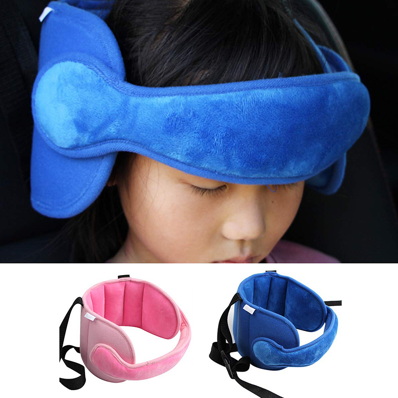 Baby Car Seat Head Neck Support with Band Soft Adjustable Toddler Travel Pillow