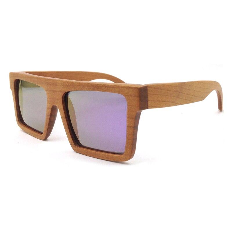 Laura Fairy Classic Unisex Square Wooden Sunglasses Men Women Blue Purple Color Polarized Pure Wood Sun Glasses occhiali da sole<br><br>Aliexpress