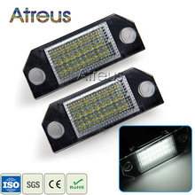Atreus Car LED License Plate Lights 12V For Ford Focus 2 C-Max accessories No error 2X White SMD LED Number Plate Lamp Bulb Kit(China)