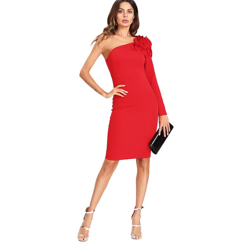 COLROVIE Asymmetrical Tiered Ruffle Shoulder Fitted Dress Red One Shoulder Long Sleeve Dress 2018 Short Ruffle Female Dress 10