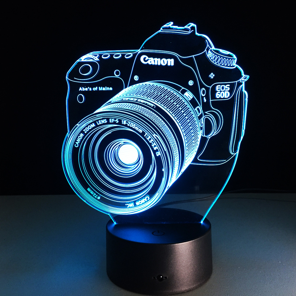 Canon Camera 3D Led Night Light Led Acrylic Colorful Lights Hologram ...