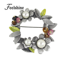 Elegant Beaded Simulated Pearl Brooch Jewelry Vintage Gun Metal Flower Brooch For Women Decorations(China)