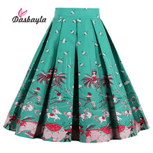 Dasbayla 2017 Women Print Vintage Pleated Skater Skirts High Waist A-Line Retro Swing Design Taxi Dancer Print