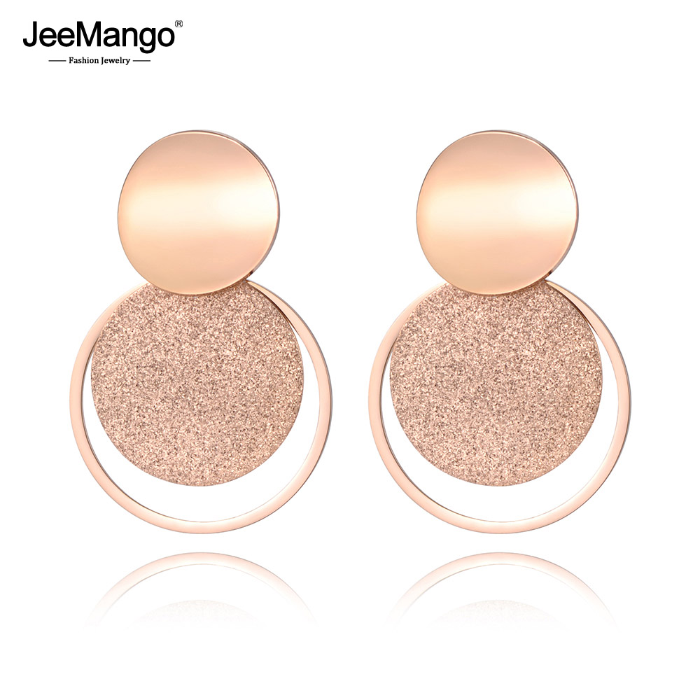 JeeMango Stainless Steel Jewelry Rose Gold Color Frosted Sheet Circle Curved Disc Stud title=