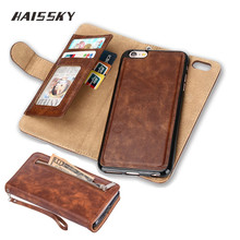 HAISSKY Case For iPhone 6 6s Plus Case iPhone 7 Plus 5 5S SE Cases Wallet Card Luxury Leather Vintage Flip Cover Stand Fundas