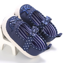 2017 Confortable Cotton Newborn Baby Dot Prewalker Sneaker Infant Toddler Princess Baby Bow Soft Soled Anti-slip Mary Jane Shoes(China)
