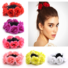 Buy 7 Colors Korean Knitted Flower Girls Scrunchy Bands Elastic Rope Rubber Ponytail Holder Gum Woman Hair Accessories Red Pink for $1.42 in AliExpress store