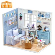 Assemble DIY Doll House Toy Wooden Miniatura Doll Houses Miniature Dollhouse toys With Furniture LED Lights Birthday Gift H016