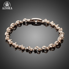 AZORA Unique Design Rose Gold Color Stellux Austrian Crystal Bracelet TS0020(China)