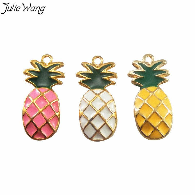 Julie Wang 6PCS Mix Sale Yellow White Pink Mini Pineapple Shape Enamel Gold Color Zinc Alloy Base Cute Charm DIY Jewelry Finding