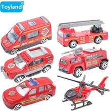 Best Gift  Mini Car Toy children toy alloy fire truck / Helicopter 1:64 model Pull Back toy car gift for Boy High-quality