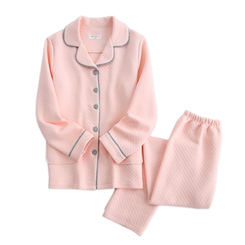 Winter keep warm home clothes women pajamas sets 100% thicken cotton simple long-sleeved women homewear pyjama femme 2018