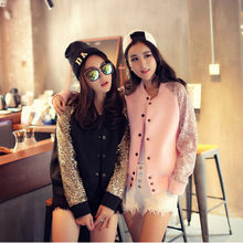 2016 New Fashion Women autumnCoat Women's Elegant Luxury sequins splicing space cotton Jacket Hot Sale JK337