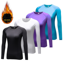 Add Wool Winter Women's O Neck Thermal Underwear Base Layer Compression Shirt Warm Long Johns Women Longies Tshirt(China)