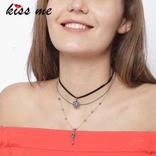 KISS ME Crystal Stars Choker Necklace Imitation Leather Multi Layers Fashion Necklaces for Women Brand Jewelry(China)