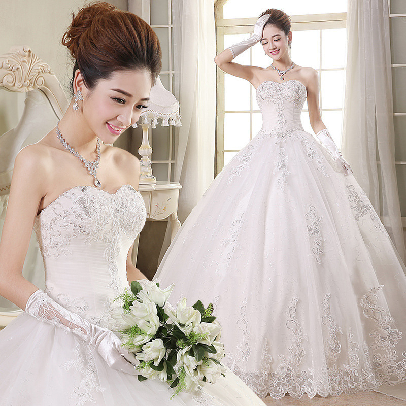 Free shipping 2016 Winter New Cheap Wedding Dresses Bandage Strapless Sexy Fashionable Wedding Dresses Lace Bride Dress