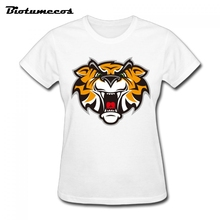 Big Size Women T Shirts Fashion Short Sleeve 100% Cotton The Head of Tiger Image T-shirt Brand Clothes Tee Top For Lady  WTD002