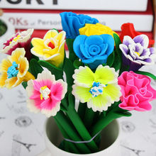 1PC Simulation of flowers Polymer clay pen craft pen gift cartoon ball pen stationery Bloom Sweet Lucky Flora flowers Pen