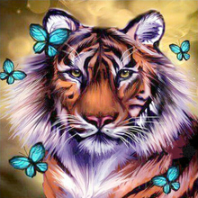 5d diy diamond embroidery Full Round diamond painting cross stitch tiger animal picture diamond mosaic pattern Home decor gift(China)