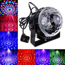 Mini RGB LED Crystal Magic Ball Stage Effect Lighting Lamp Party Disco Club DJ Bar Light Show 100-240V EU/US Plug Free shipping(China)