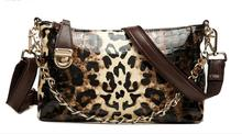 2017 Genuine Leather Women's Handbags Cowhide Fashion Leopard Print Handbag Japanned Leather Patent Shaping Bags Clutch Womenbag(China)