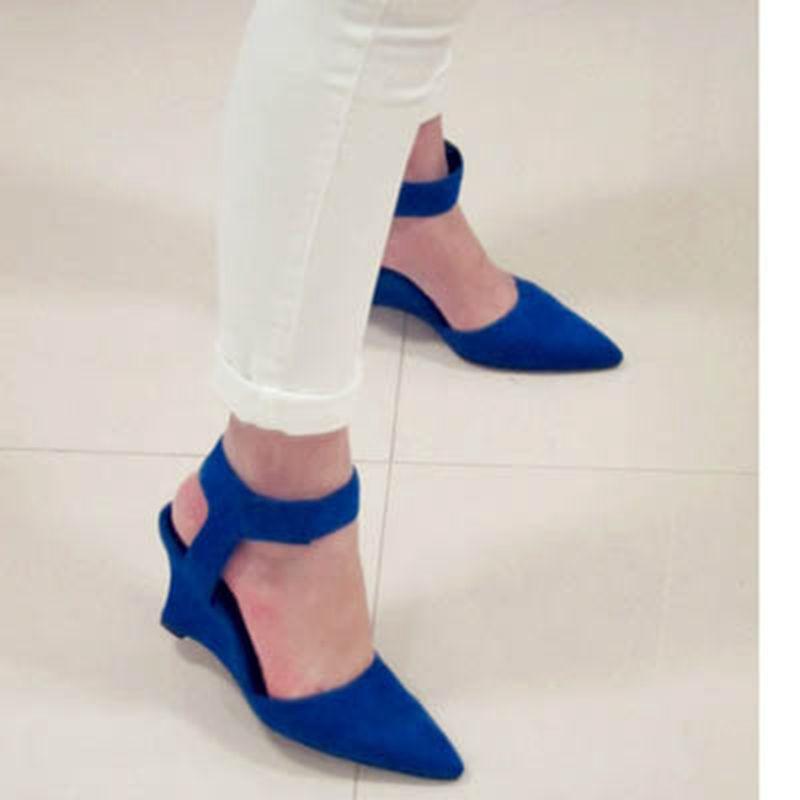 Women Wedges Fashion Ankle Hook &amp; Loop Pointed Toe Pumps Sexy Sandal High Heels Black Blue Orange White Women Shoes 2017 Summer<br><br>Aliexpress