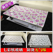Colorful clip flower soft glass table cloth crystal table mat pvc plastic round table tablecloth table mats anti-hot dining(China)