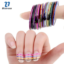 Blueness 31 Colors Rolls Striping Tape Line Foil Transfer Decals On Nails DIY Tips Decorations For 3D Nail Art Stickers JH014