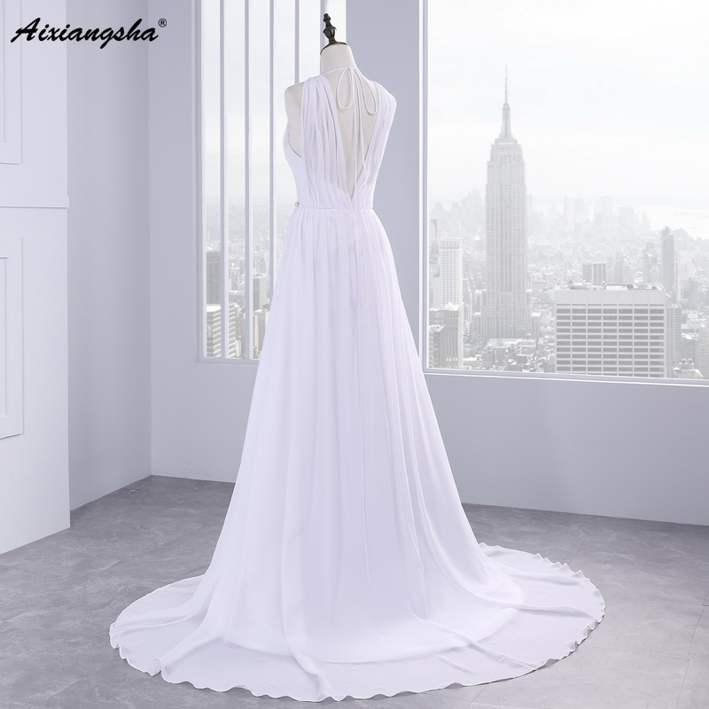 Dress Bride Ivory Chiffon Open Back 2017 Greek Style Vestidos Wedding Dress Sleeveless Floor Length Sexy Wedding Dress 5