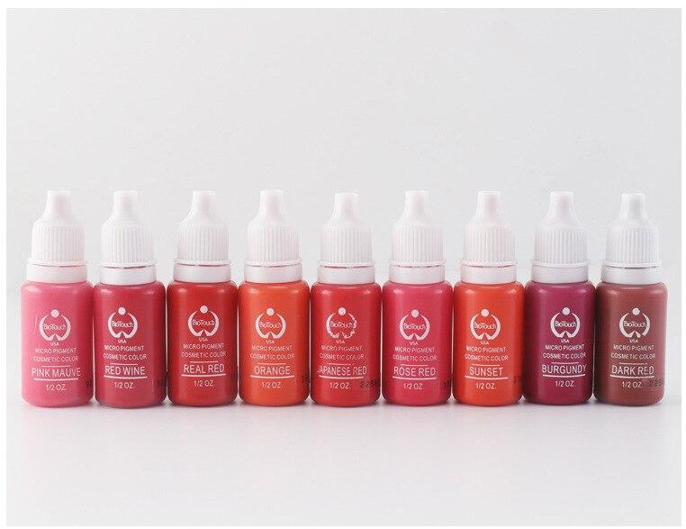 7pcs biotouch tattoo ink set 15ml/bottle (1/2OZ) permanent makeup lips pigment red pink beige colors paint<br>