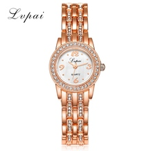 Lvpai Brand Cheap Stainless Steel Watch Rose Gold Bracelet Watch Fashion Luxury Women Dress Watch Gift Quartz Watch(China)