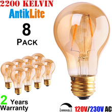 25/40/60/75 Watt 25W/40W/60W/75W Incandescent Equal 220-Volt 230 Volts AC E27 E26 A60 Standard Shape LED Filament Bulb 2/4/6/8/W