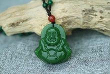 Free Shipping New Green Jades Pendant Carving Laughing Maitreya Buddha Women Men's Amulet Jades Jewelry Pendants +Beads Necklace