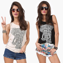 Buy S-XXL NEW 2017 summer fashion casual T shirts women elephant printed cotton O neck tops t-shirt poleras de camisetas mujer NZ427 for $10.03 in AliExpress store