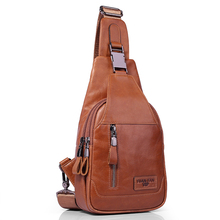 Brand Genuine Leather Casual Sling Bag Men's Chest Pack Crossbody Shoulder Bag Messenger Bags For Travel Zipper Style Design(China)
