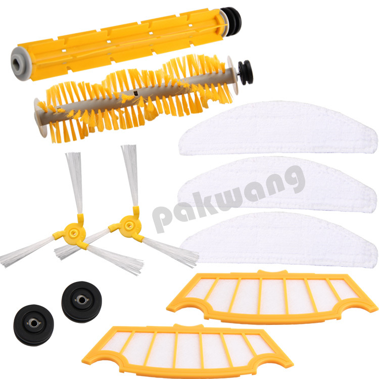Original cleaner robot parts For A325 Vacuum Cleaner, Side brush 2pcs, Rubber brush 1pc, Hair brush 1pc, Filter 2 pcs, Mop 3 pcs<br>