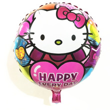 Happy every day 18 inch Hello Kitty cartoon foil balloon birthday Party Supplies Decoration kids toy balloons(China)