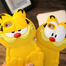 luxury 3d cute Garfield cat shockproof soft silicon mobile cover for iphone 5s 5 6s 6 6s 7 plus cartoon case women phone bags